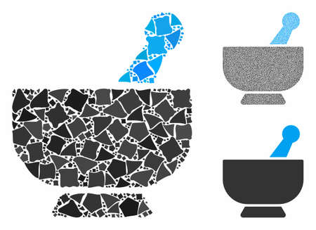 Mortar mosaic of uneven parts in different sizes and color tones, based on mortar icon. Vector irregular parts are organized into collage. Mortar icons collage with dotted pattern.