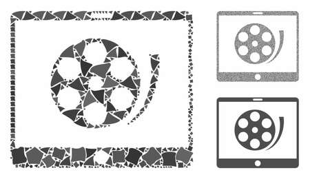 Phone video reel mosaic of bumpy elements in variable sizes and color tones, based on phone video reel icon. Vector tuberous dots are grouped into collage.