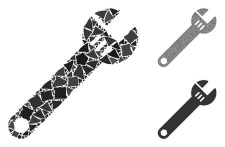 Spanner mosaic of ragged parts in variable sizes and shades, based on spanner icon. Vector raggy elements are organized into mosaic. Spanner icons collage with dotted pattern. Ilustrace