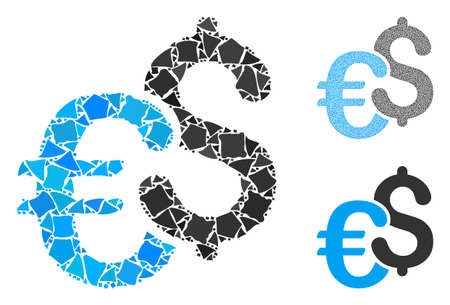 Dollar and Euro symbols mosaic of abrupt elements in various sizes and color tones, based on Dollar and Euro symbols icon. Vector ragged elements are grouped into collage.