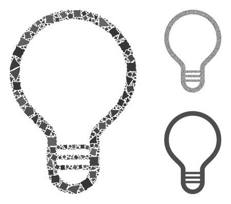 Lamp bulb composition of tuberous items in variable sizes and color tinges, based on lamp bulb icon. Vector humpy items are united into composition. Lamp bulb icons collage with dotted pattern. Ilustração
