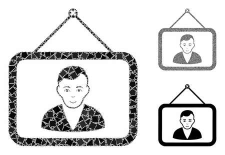 Man portrait mosaic of uneven parts in different sizes and shades, based on man portrait icon. Vector uneven elements are united into collage. Man portrait icons collage with dotted pattern.