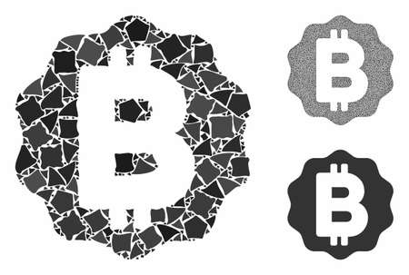 Bitcoin medal coin mosaic of rugged elements in different sizes and shades, based on Bitcoin medal coin icon. Vector rough elements are combined into collage. Ilustração