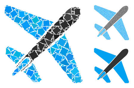 Jet airplane mosaic of rough elements in different sizes and color tones, based on jet airplane icon. Vector tuberous elements are organized into mosaic.
