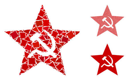 Communism star composition of irregular elements in different sizes and color tones, based on communism star icon. Vector tremulant elements are composed into collage. Çizim