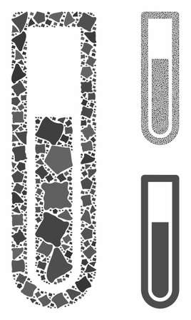 Test tube mosaic of rough items in variable sizes and color tones, based on test tube icon. Vector rough items are grouped into composition. Test tube icons collage with dotted pattern.