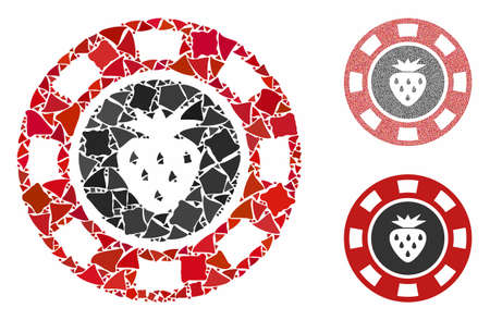 Strawberry casino chip composition of tremulant pieces in various sizes and color tones, based on strawberry casino chip icon. Vector humpy elements are united into composition.