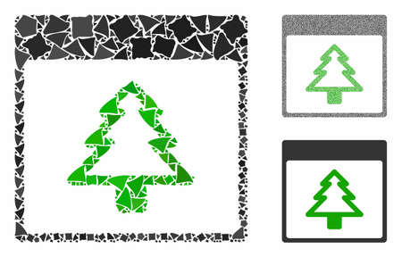 Fir tree calendar page mosaic of tuberous items in variable sizes and color tones, based on fir tree calendar page icon. Vector irregular parts are combined into mosaic.