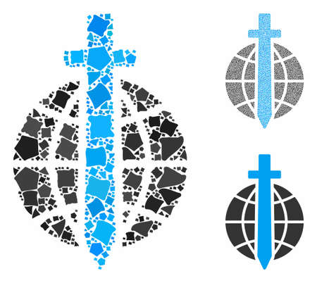 Global guard composition of raggy pieces in various sizes and color tones, based on global guard icon. Vector inequal pieces are composed into composition.