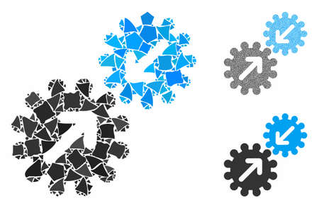 Integration gears composition of bumpy pieces in variable sizes and color tinges, based on integration gears icon. Vector humpy items are combined into composition. Ilustrace