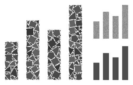 Bar graph mosaic of inequal parts in different sizes and shades, based on bar graph icon. Vector humpy parts are combined into collage. Bar graph icons collage with dotted pattern. Ilustração