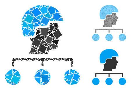 La gestión del constructor vincula la composición de elementos tuberosos en varios tamaños y tonos, según el icono de los enlaces de gestión del constructor. Las piezas tuberosas vectoriales se organizan en forma de collage.