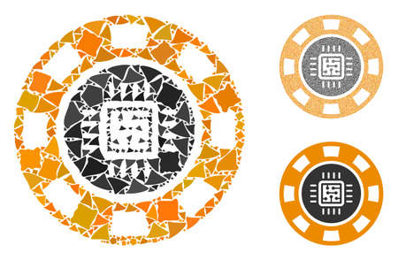 Processor casino chip mosaic of humpy items in various sizes and color tinges, based on processor casino chip icon. Vector tremulant items are combined into illustration.