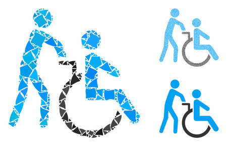 Disabled person transportation composition of humpy parts in different sizes and color tinges, based on disabled person transportation icon. Vector unequal parts are combined into collage. Stock Illustratie