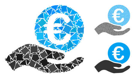 Euro salary mosaic of abrupt pieces in different sizes and color tints, based on euro salary icon. Vector inequal pieces are composed into mosaic. Euro salary icons collage with dotted pattern.