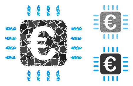 Euro chip mosaic of humpy pieces in various sizes and shades, based on Euro chip icon. Vector humpy pieces are combined into mosaic. Euro chip icons collage with dotted pattern.