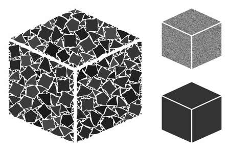 Isometric cube mosaic of tremulant items in various sizes and color hues, based on isometric cube icon. Vector tremulant pieces are united into collage.