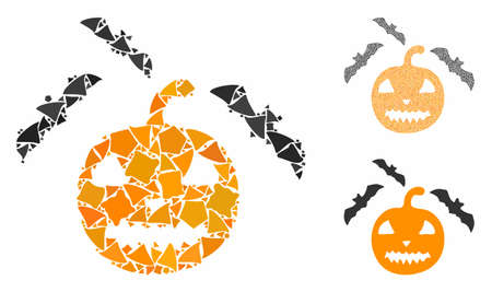 Halloween bats composition of rugged elements in various sizes and color hues, based on halloween bats icon. Vector rough elements are composed into composition.