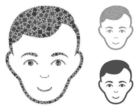 Face composition of tuberous parts in different sizes and color tinges, based on face icon. Vector uneven elements are organized into composition. Face icons collage with dotted pattern.