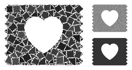 Heart condom pack composition of raggy parts in different sizes and shades, based on heart condom pack icon. Vector raggy parts are organized into collage.