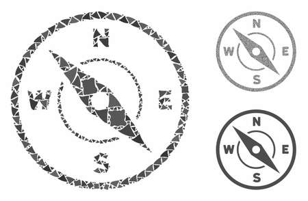 Compass composition of bumpy pieces in different sizes and color tones, based on compass icon. Vector bumpy pieces are grouped into collage. Compass icons collage with dotted pattern.