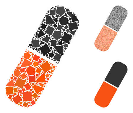 Capsule mosaic of rugged parts in variable sizes and color tints, based on capsule icon. Vector uneven items are grouped into collage. Capsule icons collage with dotted pattern. Ilustração