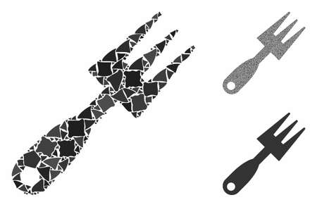 Cultivator rake mosaic of bumpy items in variable sizes and color tints, based on cultivator rake icon. Vector rough items are combined into collage. Cultivator rake icons collage with dotted pattern.