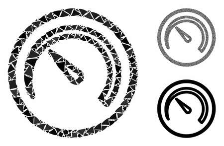 Speedometer mosaic of humpy parts in different sizes and color tinges, based on speedometer icon. Vector rough parts are combined into collage. Speedometer icons collage with dotted pattern.