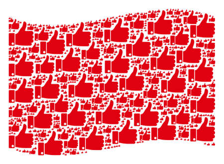 Waving red flag collage. Vector thumb up elements are combined into mosaic red waving flag illustration. Patriotic illustration done of flat thumb up elements.  イラスト・ベクター素材