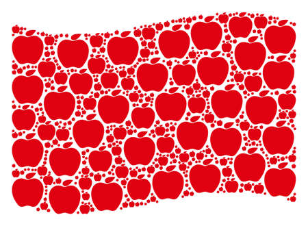 Waving red flag collage. Vector apple pictograms are combined into mosaic red waving flag collage. Patriotic collage created of flat apple pictograms. Ilustração