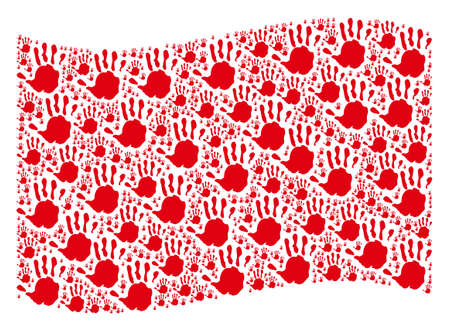 Waving red flag collage. Vector hand print pictograms are grouped into mosaic red waving flag collage. Patriotic collage composed of flat hand print design elements.
