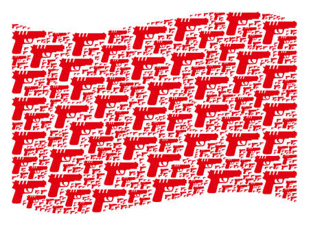 Waving red flag collage. Vector pistol gun elements are organized into mosaic red waving flag abstraction. Patriotic composition composed of flat pistol gun elements.