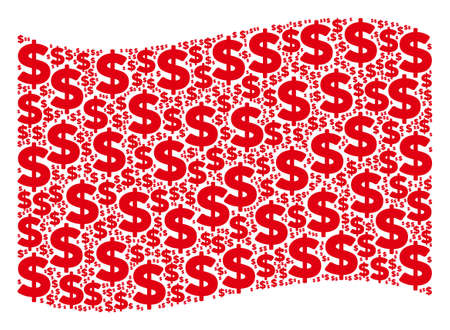 Waving red flag collage. Vector dollar design elements are arranged into geometric red waving flag collage. Patriotic collage constructed of flat dollar icons. Ilustração