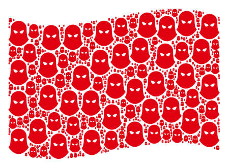 Waving red flag collage. Vector terrorist balaclava design elements are placed into conceptual red waving flag composition.