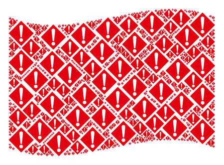 Waving red flag collage. Vector warning design elements are arranged into mosaic red waving flag composition. Patriotic collage combined of flat warning design elements.