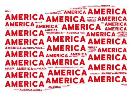 Waving red flag collage. Vector America texts are formed into mosaic red waving flag collage. Patriotic composition constructed of flat America texts. Ilustração