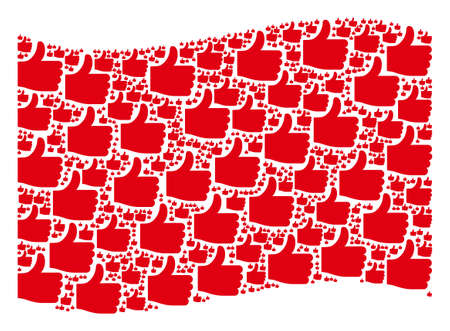 Waving red flag collage. Vector thumb up elements are grouped into conceptual red waving flag collage. Patriotic concept composed of flat thumb up elements.
