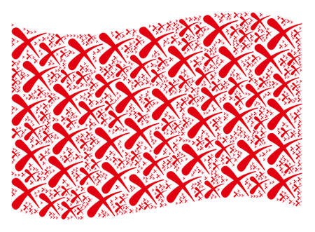 Waving red flag collage. Vector erase design elements are placed into conceptual red waving flag composition. Patriotic collage constructed of flat erase design elements. 일러스트
