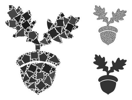 Oak acorn composition of inequal pieces in different sizes and color tints, based on oak acorn icon. Vector bumpy pieces are combined into mosaic. Oak acorn icons collage with dotted pattern. 矢量图像