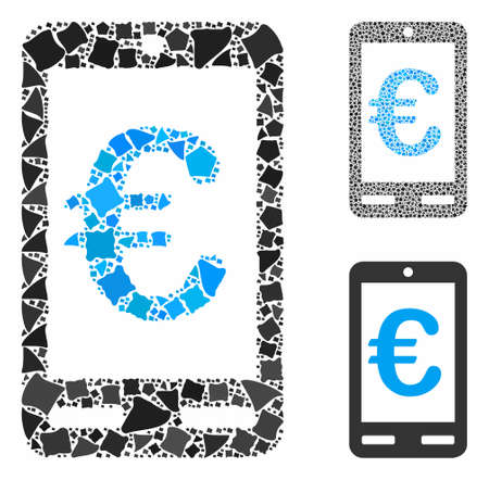 Euro mobile bank mosaic of uneven pieces in variable sizes and color tones, based on Euro mobile bank icon. Vector uneven parts are combined into collage. Çizim