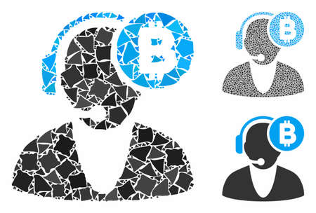 Bitcoin operator composition of joggly items in variable sizes and color tinges, based on Bitcoin operator icon. Vector joggly pieces are grouped into illustration.