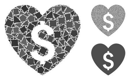 Paid love mosaic of irregular pieces in various sizes and color tints, based on paid love icon. Vector irregular elements are grouped into collage. Paid love icons collage with dotted pattern.