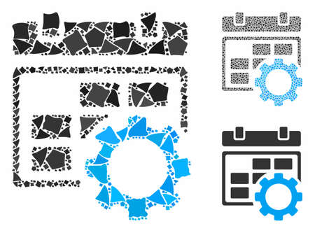 Calendar settings gear mosaic of rugged parts in various sizes and color tinges, based on calendar settings gear icon. Vector uneven pieces are grouped into mosaic.