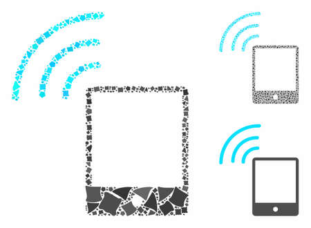 Smartphone wifi signal composition of humpy elements in various sizes and color hues, based on smartphone wifi signal icon. Vector humpy elements are united into composition.