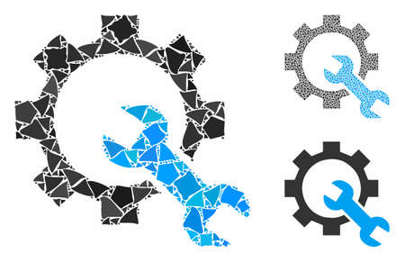 Service tools composition of joggly elements in various sizes and color tinges, based on service tools icon. Vector joggly elements are grouped into collage. Illustration