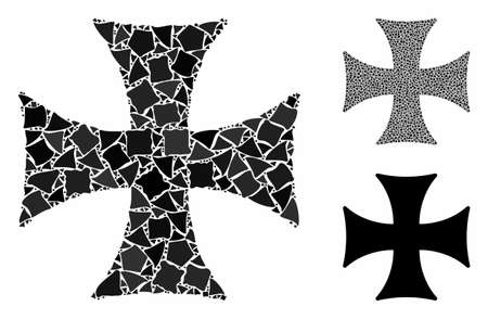 Maltese cross composition of joggly items in variable sizes and color tinges, based on Maltese cross icon. Vector ragged pieces are composed into collage. Ilustração Vetorial