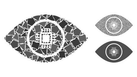 Electronic vision mosaic of inequal elements in variable sizes and color tones, based on electronic vision icon. Vector bumpy elements are organized into mosaic. 向量圖像
