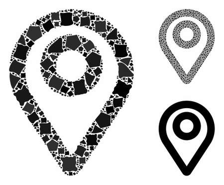 Map pointer mosaic of irregular pieces in different sizes and color tinges, based on map pointer icon. Vector abrupt parts are combined into collage. Map pointer icons collage with dotted pattern. 矢量图像