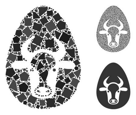 Cow egg composition of inequal elements in variable sizes and color hues, based on cow egg icon. Vector inequal elements are organized into composition. Cow egg icons collage with dotted pattern. Иллюстрация