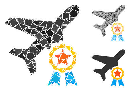 Airplane certification mosaic of tremulant parts in different sizes and color tinges, based on airplane certification icon. Vector humpy parts are organized into mosaic. Foto de archivo - 131885383